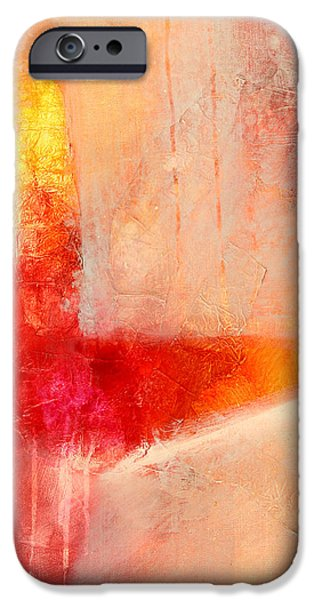 Tangerine Paintings iPhone Cases - Glow 2 Abstract Art iPhone Case by Nancy Merkle