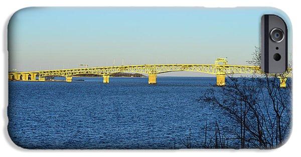Yorktown iPhone Cases - Glowing Coleman Bridge iPhone Case by Nancy Comley