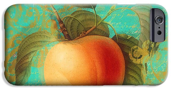 Pears iPhone Cases - Glowing Fruits Apricot iPhone Case by Mindy Sommers