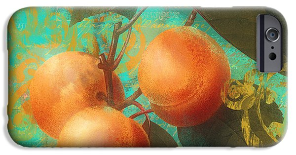 Pears iPhone Cases - Glowing Fruits Apricots iPhone Case by Mindy Sommers