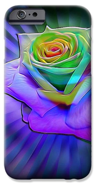 Floral Digital Art Digital Art iPhone Cases - Glowing Neon Rose iPhone Case by Lilia D