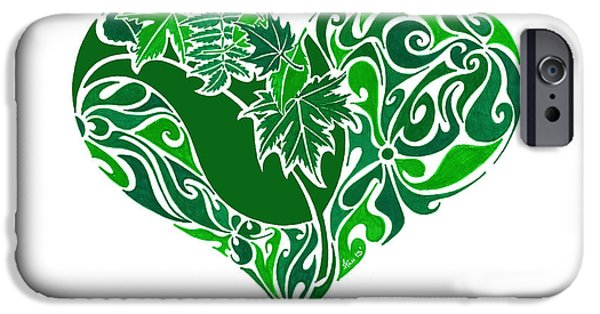 Pen And Ink iPhone Cases - Go Green iPhone Case by Anushree Santhosh
