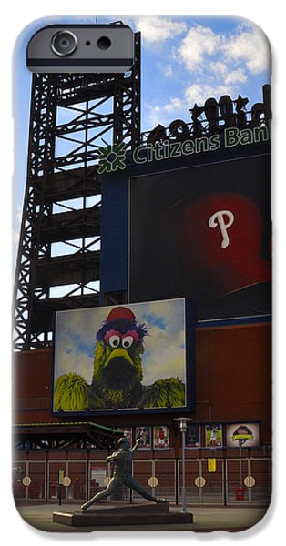Philadelphia Phillies Stadium Digital iPhone Cases - Go Phillies - Citizens Bank Park - Left Field Gate iPhone Case by Bill Cannon