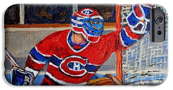 Afterschool Hockey Montreal Paintings iPhone Cases - Goalie Makes The Save Stanley Cup Playoffs iPhone Case by Carole Spandau