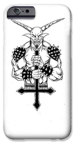 Religious Drawings iPhone Cases - Goatlord and the Cross iPhone Case by Alaric Barca