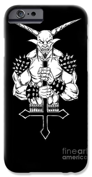 Religious Drawings iPhone Cases - Goatlord and the Cross Black iPhone Case by Alaric Barca