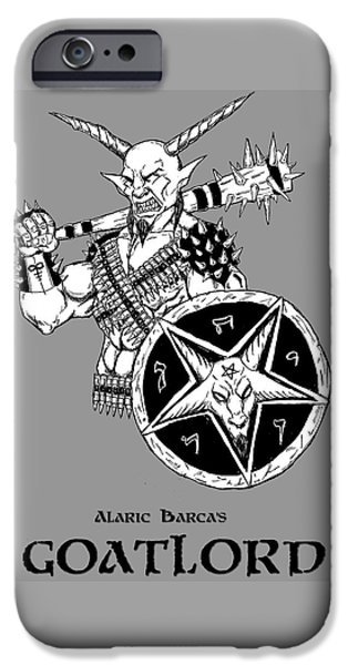 Religious Drawings iPhone Cases - Goatlord Gray iPhone Case by Alaric Barca