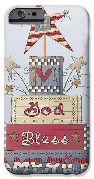4th July Paintings iPhone Cases - God Bless America-JP2839 iPhone Case by Jean Plout