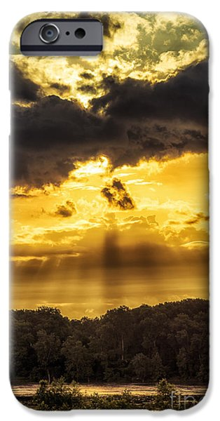 Charles River iPhone Cases - God Light Missouri River iPhone Case by Thomas R Fletcher