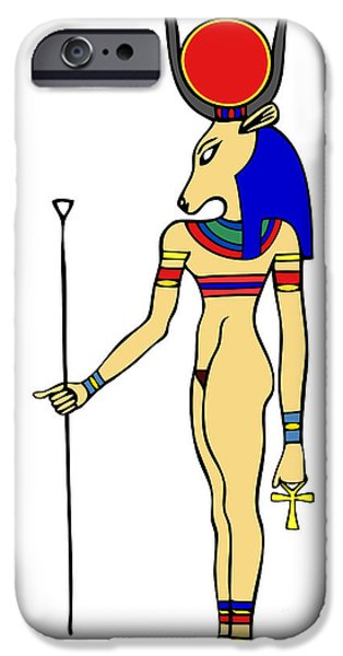 Hathor Digital iPhone Cases - God of Ancient Egypt - Hathor iPhone Case by Michal Boubin