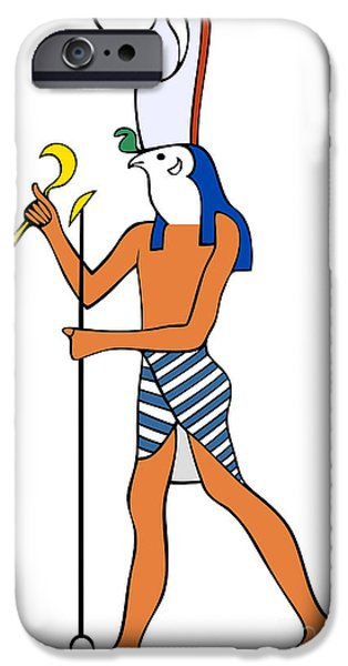Horus Digital Art iPhone Cases - God of Ancient Egypt - Horus iPhone Case by Michal Boubin