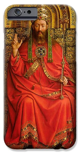 Blessings Paintings iPhone Cases - God the Father iPhone Case by Hubert and Jan Van Eyck