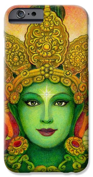 Yin Paintings iPhone Cases - Goddess Green Taras Face iPhone Case by Sue Halstenberg