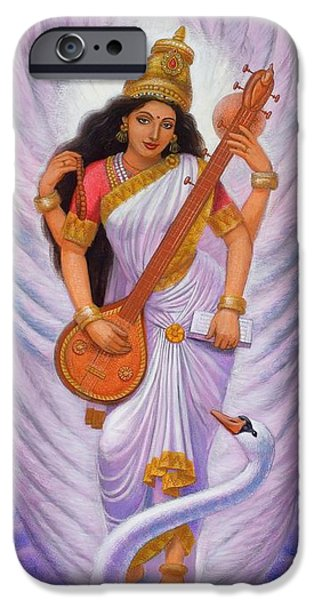 Hindu Goddess iPhone Cases - Goddess Saraswati iPhone Case by Sue Halstenberg