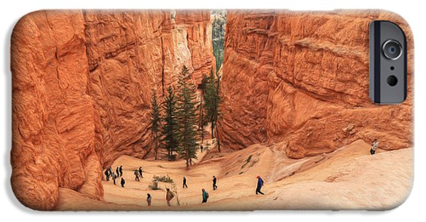 Red Rock iPhone Cases - Going Down The Navajo Loop Trail iPhone Case by Donna Kennedy