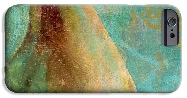Pears iPhone Cases - Gold and Aqua Pear iPhone Case by Mindy Sommers