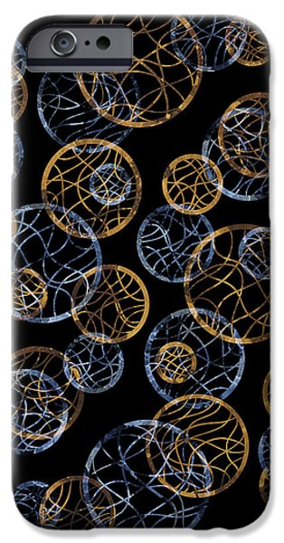 Twenties iPhone Cases - Gold And Blue Abstract Circles iPhone Case by Frank Tschakert