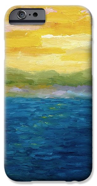 Lake Michigan Paintings iPhone Cases - Gold and Pink Sunset  iPhone Case by Michelle Calkins