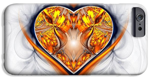 Day iPhone Cases - Gold and Sapphire Heart  iPhone Case by Sandra Bauser Digital Art