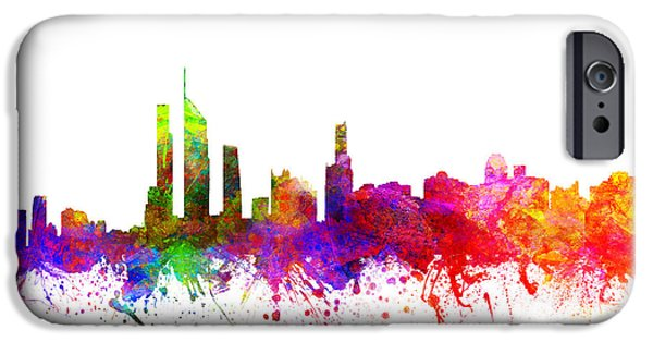 Australia Drawings iPhone Cases - Gold Coast Australia Cityscape 02 iPhone Case by Aged Pixel