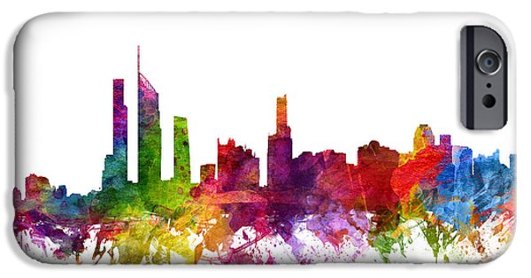 Australia Drawings iPhone Cases - Gold Coast Australia Cityscape 06 iPhone Case by Aged Pixel
