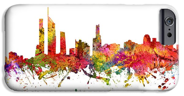 Australia Drawings iPhone Cases - Gold Coast Australia Cityscape 08 iPhone Case by Aged Pixel