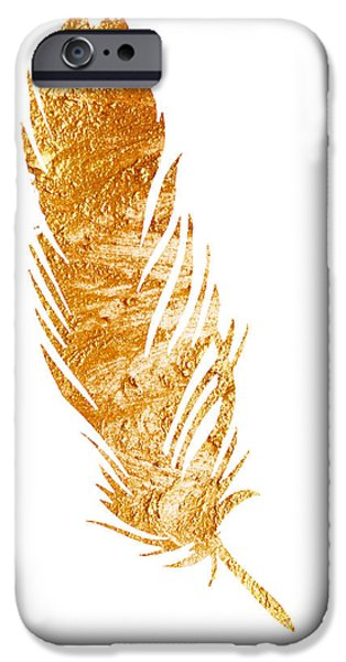 Abstract Jewelry iPhone Cases - Gold feather illustration gift idea iPhone Case by Joanna Szmerdt