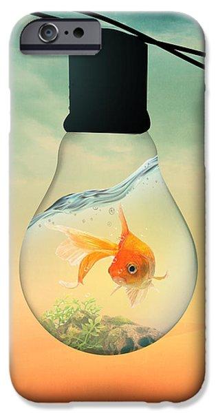 Shark Digital iPhone Cases - Gold Fish 4 iPhone Case by Mark Ashkenazi
