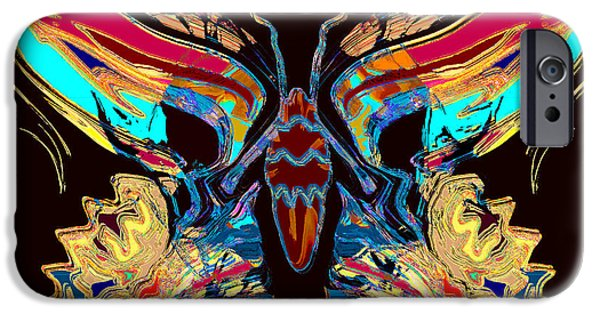 Blue Abstracts iPhone Cases - Gold Leaf Butterfly iPhone Case by Stephen  Killeen