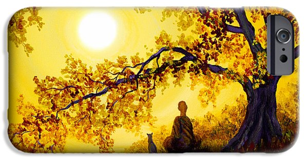 Asian iPhone Cases - Golden Afternoon Meditation iPhone Case by Laura Iverson