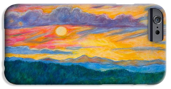 Autumn Landscape Pastels iPhone Cases - Golden Blue Ridge Sunset iPhone Case by Kendall Kessler