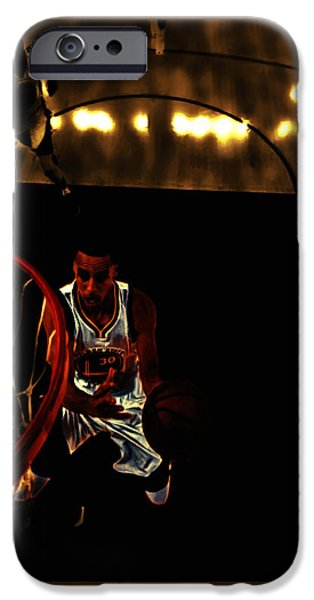 Lebron James Mixed Media iPhone Cases - Golden Boy Stephen Curry iPhone Case by Brian Reaves