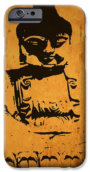 Statue Portrait Mixed Media iPhone Cases - Golden Buddha iPhone Case by Kandy Hurley