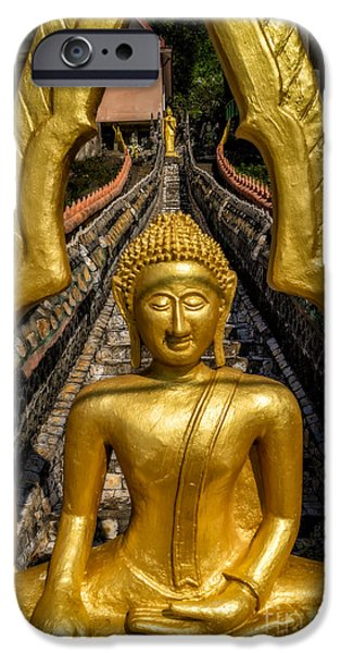 Ruin iPhone Cases - Golden Buddhas iPhone Case by Adrian Evans