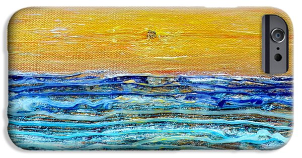 Abstract Seascape iPhone Cases - Golden Dawn iPhone Case by Regina Valluzzi