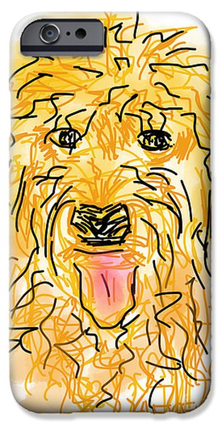 Loose Style Drawings iPhone Cases - Golden Doodle iPhone Case by Robert Yaeger