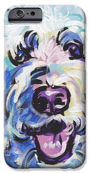 Recently Sold -  - Puppies iPhone Cases - Golden Doodly Dee iPhone Case by Lea