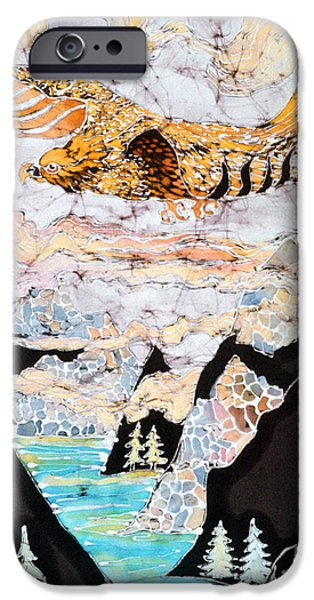 Clouds Tapestries - Textiles iPhone Cases - Golden Eagle Flies Above Clouds and Mountains iPhone Case by Carol  Law Conklin