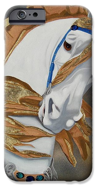 Carousel Horse Paintings iPhone Cases - Golden Fantasy iPhone Case by Debbie LaFrance