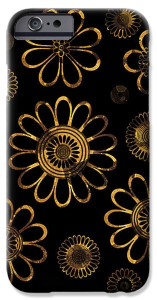 Art Nouveau Style iPhone Cases - Golden Flowers iPhone Case by Frank Tschakert