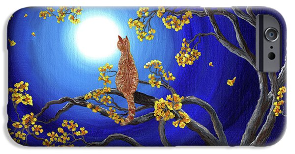 Pagan iPhone Cases - Golden Flowers in Moonlight iPhone Case by Laura Iverson
