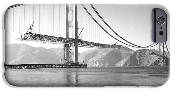 Alcatraz iPhone Cases - Golden Gate Bridge Construction 1937 iPhone Case by Daniel Hagerman
