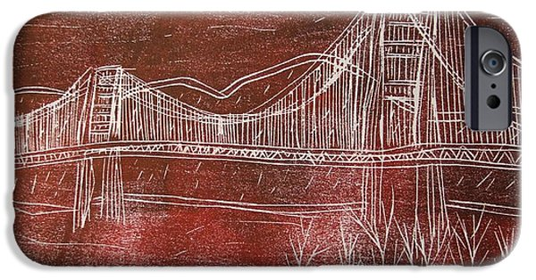 Bay Bridge Mixed Media iPhone Cases - Golden Gate Bridge Red Woodcut Print  iPhone Case by Marina McLain