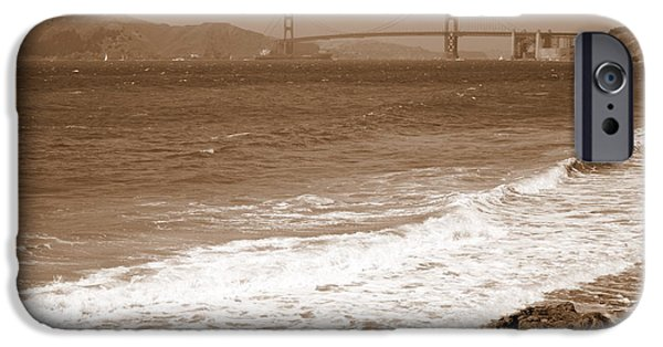 China Beach iPhone Cases - Golden Gate Bridge with Shore - Sepia iPhone Case by Carol Groenen