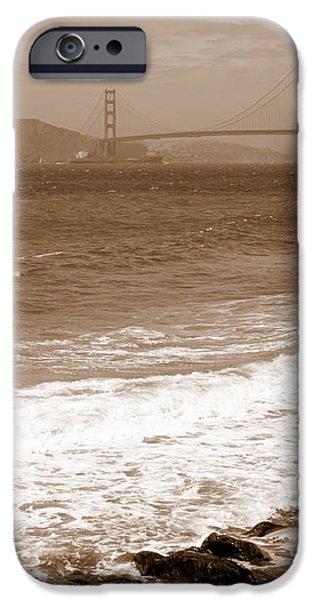 Golden Gate Bridge with Shore - Sepia iPhone Case by Carol Groenen