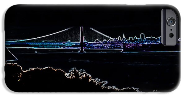 Buildings By The Ocean iPhone Cases - Golden Gate in Neon iPhone Case by Heather Joyce Morrill