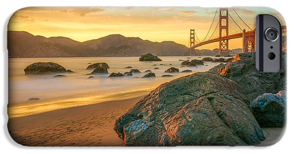 Bridge iPhone Cases - Golden Gate Sunset iPhone Case by James Udall