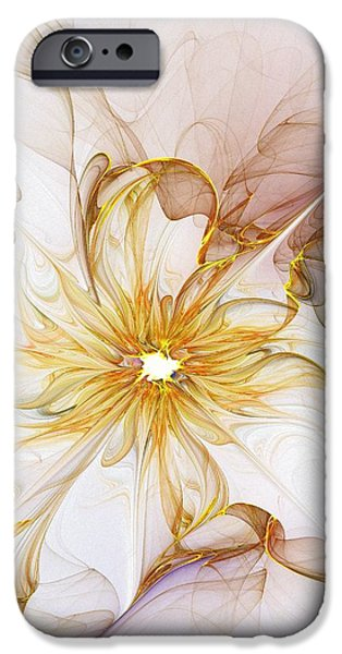 Fractals Fractal Digital Art iPhone Cases - Golden Glow iPhone Case by Amanda Moore