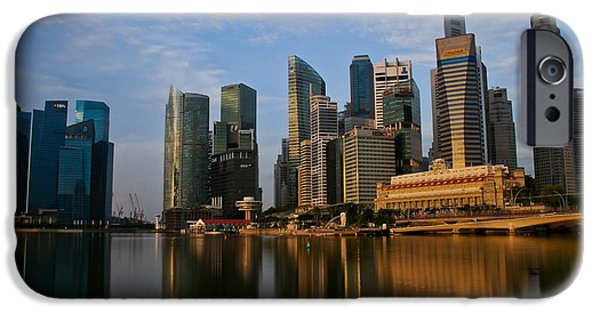 Industry iPhone Cases - Golden Glow on Singapore Business District iPhone Case by Brian Kamprath