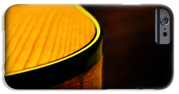 Guitar iPhone Cases - Golden Guitar Curve iPhone Case by Deborah Smith